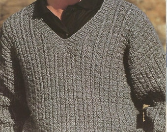 knit mens v neck with easy country casual look   long sleeves pullover tunic jumper vintage pattern instant download pdf