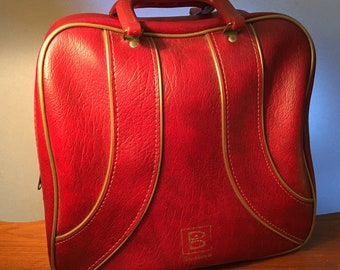 Vintage Brunswick bright burgundy bowling bag i