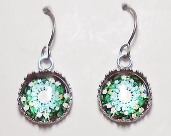 Blue Floral Mandala Earrings Titanium Hypoallergenic For Sensitive Ears