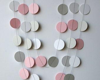 Pink, gray & white paper garland, Pink gray white nursery decor, Girl baby shower, Girl birthday decoration banner,Wedding shower, KC-1034
