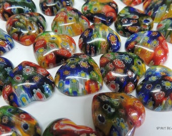 Millefiori Heart Multicolor Glass Cabochons Heart 20 mm Jewelry Mosaics Crafts