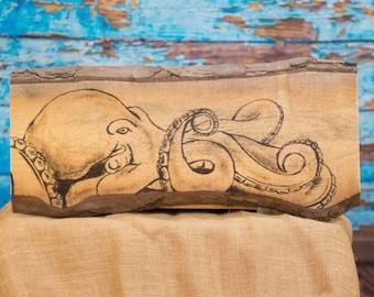 Ocean art Beach house decor Rustic beach art Octopus art Octopus print Ocean decor Beach wall art Lake home decor Beach nursery decor Pallet