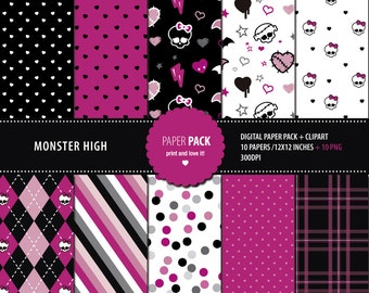 Digital Paper Pack and Clip Art Monster High Printable. 12x12 sheets 300 dpi  10 PNG CLIPART