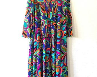 vtg 60s psychedelic JUMPSUIT - wide leg long sleeve - sz small