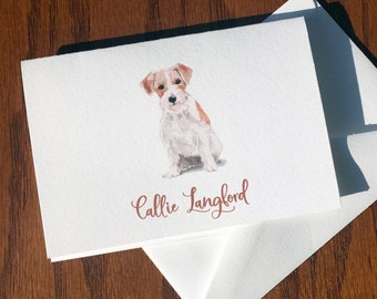 Jack Russell Terrier Personalized Stationery, great gift for dog lovers, JRT stationery set 100% Cotton, custom gifts for dog lovers