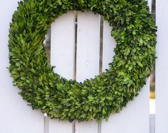 "24"" Preserved Boxwood Wreath, Base wreath, Spring wreath, boxwood wreath"