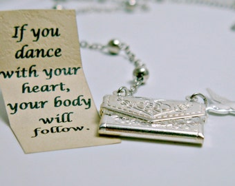 Dancer Necklace, Envelope Necklace, Dancer Gift, Dancer Jewelry, Silver Personalized Necklace, Friendship Necklace, Secret Message
