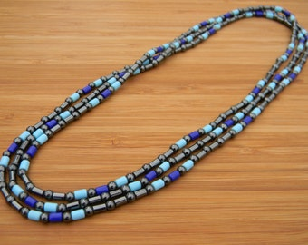 Long Hematite and Glass Bead Necklace