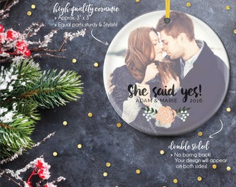 Newly Engaged Gifts, Christmas Engagements, She Said Yes, Engagement Ornaments, Personalized Photo Gift, Engagement Gift Idea / C-P66-OR ZZ2