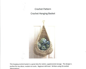 Crochet Pattern - Hanging Basket Crochet Pattern - Digital Download Door Knob Basket Pattern