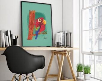 Tropical Birds Print, Tropical Wall Art Decor, Colourful, Exotic birds Poster, Tropical prints, Tropical Poster.