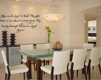 Bless us oh Lord and these Thy gifts ...Meal Prayer-Vinyl Wall Decal Lattering Dining Room Kitchen Quote