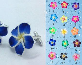 Cuff links color Royal Blue plumeria flower