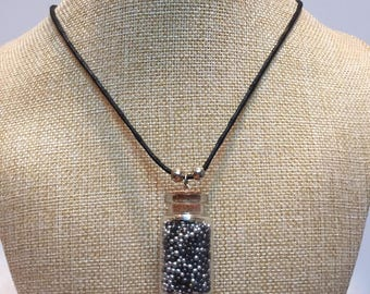 Silver Black microbeads glass vial necklace jewelry