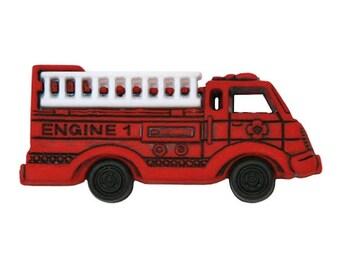 12 Fire Engine Truck Buttons 1.5 inch ( 38 mm ) Jesse James Dress It Up Novelty Buttons