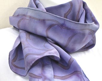 Handpainted silk neck scarf, perhaps periwinkle blue with some dull burgundy.  Painted gray-lavender or cornflower blue silk scarf.