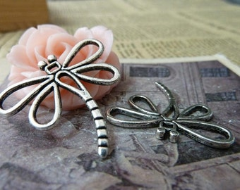 8 Dragonfly Charms, Antique Silver Tone (1O-1)