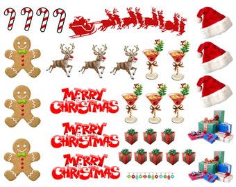Christmas Scene Various Designs Edible Stand Up Wafer Cupcake Toppers