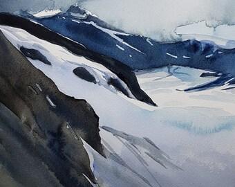 Landscape Painting, Winter Landscape, Original Watercolor,