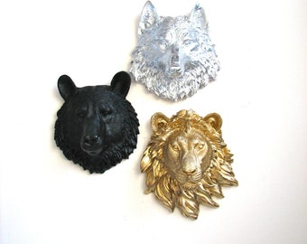 Set of 3 ANY color/color combination: Faux Taxidermy Choose 1 small bear, 1 sm. wolf, 1 sm.  zebra, 1 sm. lion, OR 1 sm. elephant Faux Heads