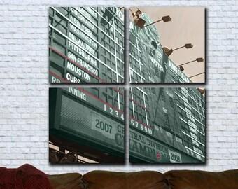 """42"""" Canvas Art Set. Wrigley Field Scoreboard"""