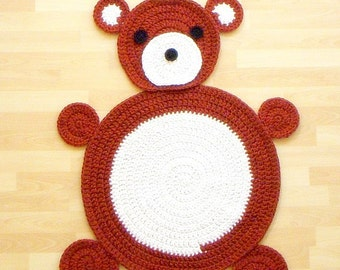Crochet rug mat pattern - 36 inches x 28 inches Bear Children Play Mat Rug - tutorial PDF