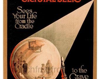 vintage art deco poster fortune teller crystal ball DIGITAL DOWNLOAD