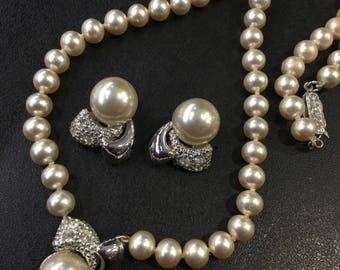 Pearl and Diamanté Necklace and clip on earrings