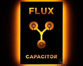 Lighted Flux Capacitor Sign - Back to the Future Night Light - Wall Hanging LED Flux Capacitor Art