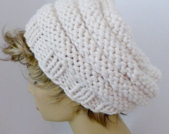 Mens or Womens Hand Knit Beehive Slouch Hat Color Off-white  (H-117)