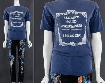 Vintage DJ Tshirt Blue Heather Tee Vintage Entertainment Disc Jockey Tee 50 50 Tee Unisex