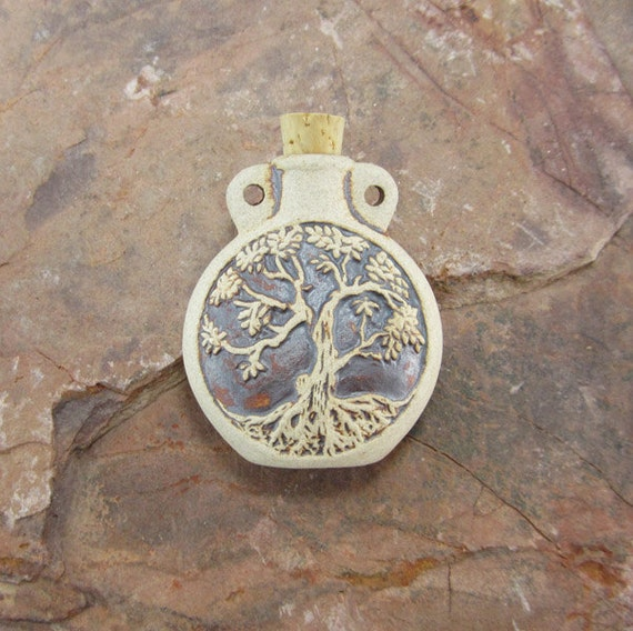 Peruvian Ceramic High Fire Tree Of Life Bottle From
