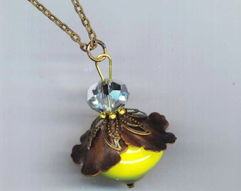 Large Yellow Bee Pendant . Yellow Ceramic Bead . Bee Necklace . Faceted Crystal, Brass, Bali Spacer - Bee Happy by enchantedbeas on Etsy