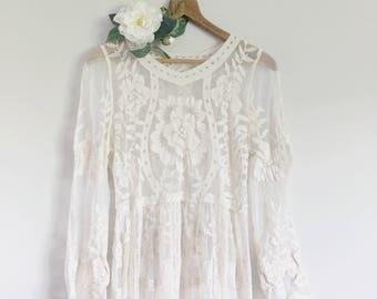 ELLE lace long dress maternity | ivory
