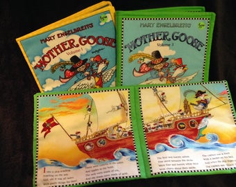Two different Mother Goose soft fabric books