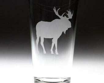 Custom personalized Elk Moose engraved glass , canada
