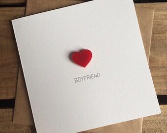 Boyfriend Card with Magnetic Love Heart Keepsake