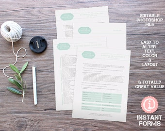 Wedding Photography Forms and Contract - IF013 - INSTANT DOWNLOAD. You'll receive 4 psd files