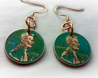 Penny Earrings, Green Patina Penny Earrings, Copper Earrings, 1995 Penny Earrings, Copper Penny Earrings, Lucky Penny, ELEMENTS Collection