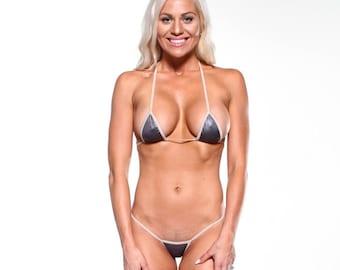 Solid Dark Gray Sexy Micro G String Bikini 2pc Sliding Triangle Top Mini Thong Minimal Coverage Exotic Swimsuit Swimwear with Nude String