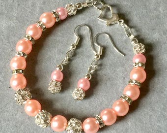 Crystal and pearl bling bracelet and earrings set
