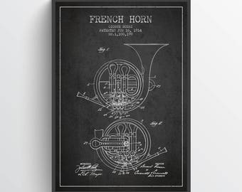 1914 French Horn Patent Wall Art Poster, French Horn print, Vintage French Horn, Home Decor, Gift Idea, MUIN08P
