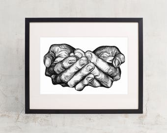 "Give - Detailed Hands Figure 11"" x 8.5"" Fine Art Print"