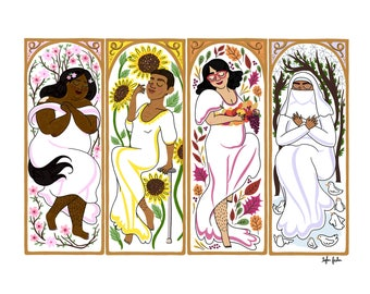 The Seasons by Mucha - Intersectional Inktober Version - Print - Hand-Illustrated