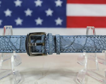Genuine Matte Denim Ostrich Leg Leather Skin Watch Strap 18mm (Made in U.S.A) #115