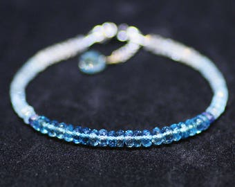 Natural Aquamarine and London Blue Topaz Bracelet Solid 14k White Gold , March December Birthstone, 4th 18th 19th Anniversary, Healing Gems