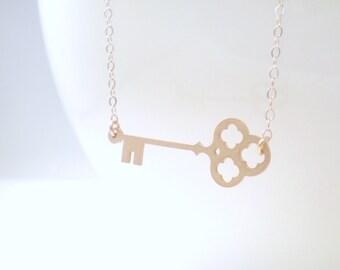 Sideways Skeleton Key Necklace, Key Necklace, Skeleton Key, Key Charm