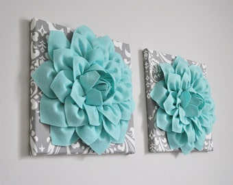 Home Decor Wall Art, Aqua and Gray Flower Damask Wall Hangings, Bathroom Wall Decor, Teal Bedroom Decor, Girl Nursery Wall Art -