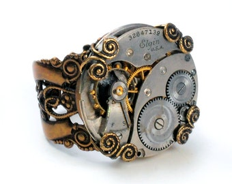 1930 Elgin Watch Movement Steampunk Adjustable Ring