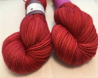 Full Moon Yarn - Hibiscus - Ready to Ship - Hand Dyed - Merino Wool Yarn - Fingering Weight